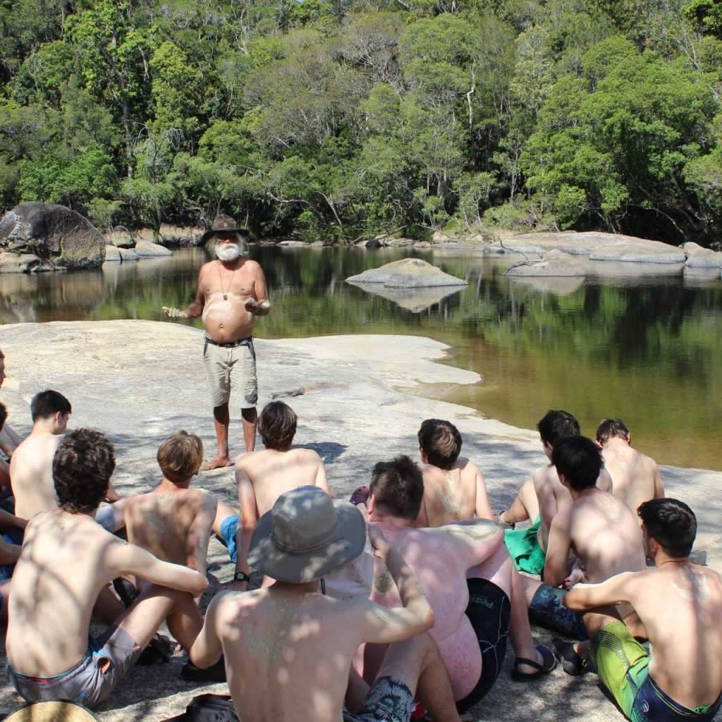 Marist College North Shore students visiting aboriginal sacred site on Red Earth Indigenous Cultural Immersion